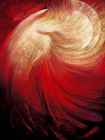 red and cream swirling abstract image